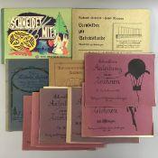 Konv. alte Zeichenlehrbücher, 10 Stück: 6 x Schreibers Anleitung zum Zeichnen 1926 Band 381, 384,