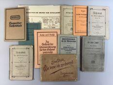 Konv. alte Lehrbücher, 10 Stück: 2 Rechenbücher Chemnitz 1911, Diktate Dresden 1895 Mittelstufe,