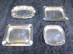 Schälchen und Aschenbecher 4-er Set, Sterling Silber, 3 x monogr. G, 3 x 925 er, 1 x 900 Silber