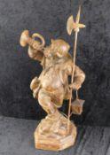 Nachtwächter mit Laterne, Massivholz handgeschnitzt, Oberammergau, 2.H.20.Jhdt., Höhe 77 cm, S