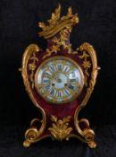 Französische Pendule, um 1855, Schildplatt mit Messingapplikationen, Uhrwerk gepunzt H.L.F.