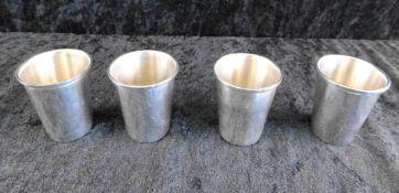 Schnapspinnchen, 4-er Set, Sterling Silber 925, Gewicht 73 g, Monogrammiert Axenoh 50G