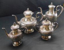 Silber-Set, 4- teilig, Kaffeekanne, Teekanne, Zuckerdose, Milchkanne, 800 er Silber, 1.885 g