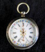 Taschenuhr, 800 Silber, französisch, Ziffernblatt röm. Ziffern, emailliert m. Blumernmalerei,