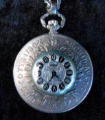 Taschenuhr ELSTAR, 835 Silber, eingearbeitet in einen Maria-Theresien-Taler Kette 925 S