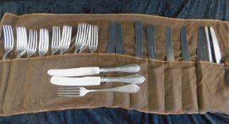 Besteck, 800 er Silber, 25-teilig, 13 Gabeln, 4 Fischmesser, 8 Messer, W.Kaupert