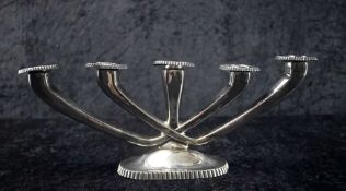 5-armiger Kerzenleuchter 925 Sterling Silber, Nieren-Stil auf ovalem Fuß, nicht gefüllt, Mitte