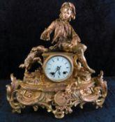 """Figurenpendule, Frankreich, 2.H.20.Jhdt., Metall bronziert, """"Junge mit Hund"""", Uhrwerk L`Epée"""