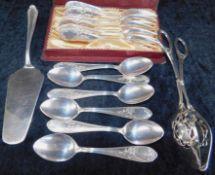 Besteck 6 Pers., Silberauflage 90er, 14-teilig, 6 Kuchengabeln, 6 Kaffeelöffel, Tortenheber, Ge