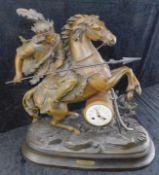 Figurenpendule, Bronze, Frankreich um 1890, Entwurf Duchoiselle, Uhrwerk AD. MouginDuc