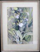 "Hanneliese Dahler (1906-?) Mischtechnik ""Orchidee"" 44 x 30, 62 x 46 cm m.R."