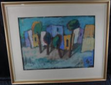 """Heinz Wittler *1918 - 2004 """"Nordafrik. Häuserzeile"""" sig.,Tempera/Platte, 50 x 70 cm"""