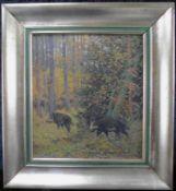 """Dimitri von Prokofieff *1870-1944, russ. Maler, """"Wildschweine"""" Öl auf Leinw., sig. u.dat. (19)46"""