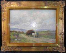 """Josef Helmut Schilhabel, (*1896-1970), Öl auf Platte, """"Bauer mit Pferdekarren"""", signiert unten links"""
