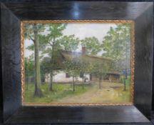 """Unbek. Künstler, """"Dörfliche Idylle"""", um 1900, Öl auf Platte, unsig., 45 x 60 cm, m.R."""
