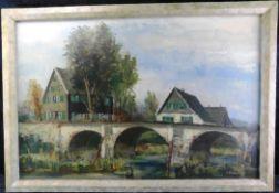 """Josef Horn, *1902-1951 """"Alte Kräwinklerbrücke"""" Öl/Platte, sig., 60 x 90 cmm m.R."""