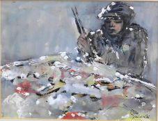 """Otto Schliwinski, *1928, Mischtechnik """"Asiat b. Essen m. Stäbchen"""" sig., 19x24 cm"""
