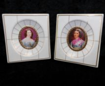 2 Miniaturen, Porzellan Villeroy & Boch von 1983, Charlotte von Hagn, Helene Sedlmayr