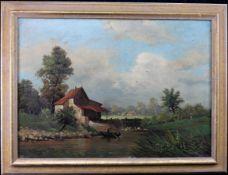 "H. Berger, Ddf. 1.H.20.Jh. ""Mann im Boot auf Fluss"", sig., dat. u. Ortbez., Öl/Leinwand,"