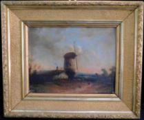 "Unb. Künstler ""Windmühle"", Öl auf Leinwand, um 1880, unsig.,19,5 x 26,5 cm, m.R."