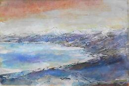 """Otto Schliwinski, *1928, Mischtechnik """"Berge am Wasser"""" sig. u.r., 19 x 28,5 cm"""