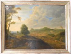 """Lodewyck de Vadder *1605-1655, """"Landschaft mit Reisenden"""" 1.H.17.Jh., Öl auf Leinw., 57 x 77 cm, m.R"""