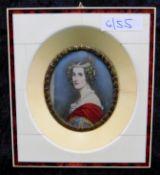 Miniatur, Porträt Prinzessin Alexandra, Ölmalerei auf Elfenbein, in Elfenbein-Rahmung 10,5 x 9,5 cm