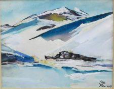 """Otto Schliwinski, *1928, Mischtechnik """"Gehöft i. d. Bergen"""" sig u. r., 12x15,5 cm"""