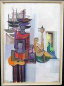 """Unbek. Künstler, Mischtechnik """"Musizierender Akt"""", undeutl. sig. u. dat., 1962, Widmung"""