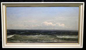 """Robert Kummer *1810 Dresden-1889 """"Meereswogen"""", Öl/Leinwand, sig., 15,5 x 30,5 cm"""