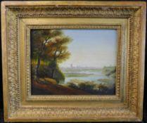 """Unbek. Künstler, """"Flusslandschaft mit Stadtsilhouette"""", Öl auf Platte, 1.H.20.Jhdt., m.R."""