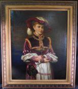 """Moritz Stifter,*1857 Wien-1905, attr.,""""Edeldame in historischem Gewand"""", Öl/Leinwand, 128 x 109 cm"""