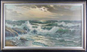 """Peter Schlünser, deutsch, 20.Jhdt., """"Meeresbrandung"""", Öl auf Leinwand, signiert unten links, m.R."""