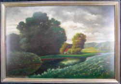 """Max Glade """"Bauernhaus am Fluss"""" Öl/Platte, sig. u. dat. 1919, 45 x 65 cm m.R."""