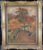 "Ria Picco-Rückert *1900 Nürnberg- 1969 ""Waldlandschaft m. Person"" Öl/Platte, m.R."