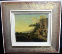 """Unbekannter Künstler, """"Landschaft mit Person"""", um 1820, unten links undeutlich signiert, m.R."""