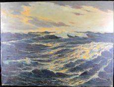 """Horst Altermann *1925 - 78, """"Meereswogen"""", Öl auf Leinwand, signiert m. Ortsbez. Düsseldorf"""