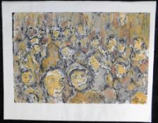 """Otto Schliwinski, *1928, """"Menschen i. Asien"""" Mischtechnik a. Papier, sig. u.re., 30,5 x 45 cm, o.R."""