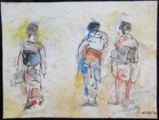 "Otto Schliwinski, *1928, ""3 Personen"" Mischtechnik a. Papier, sig. u. dat.(19)82, 22 x 29,5 cm, o.R."