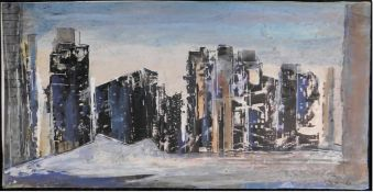 """Otto Schliwinski, *1928, """"Hochhäuser"""" Mischtechnik a. Papier, sig. u. re., 20,5 x 40 cm, o.R."""