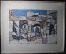 """Heinz Wittler 1918 - 2004 """"Nordafrikanische Stadtansicht"""" sig., Tempera/Platte, 48 x 67 cm"""