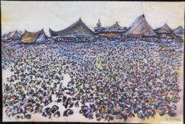 """Otto Schliwinski, *1928, """"Menschen vor asiat. Häusern"""" Mischtechnik a. Papier, sig. u.re., 36 x 54,5"""