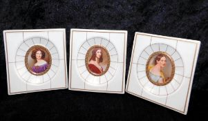 3 Miniaturen, Porzellan Villeroy & Boch v. 1983, F. Freiin v. Gummpenberg, A. Wallinger, N. Kaula