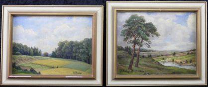 """Unbek. Künstler, 2 Landschaftsgemälde, sign. """"Falkenberg"""", Öl auf Leinwand, 20. Jh."""