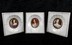 3 Miniaturen, Porzellan Villeroy & Boch von 1983, Nanette Kaula, Auguste Strobl, Wilhelmine Sulza