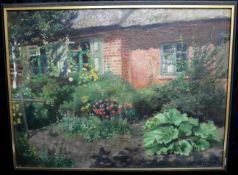 """Rudolph Eichstaedt (1857-1924) """"Haus und Hof"""", Öl auf Leinwand, signiert"""