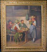 """Albert Strothmann (*1932) """"Umworbene Sennerin"""" Öl auf Leinwand, signiert unten rechts, m.R."""