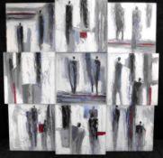 Abstrakte Komposition/3D-Installation, Acryl auf Leinwand, 90 x 90 cm, 2.H.20.Jh.