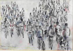 "Otto Schliwinski, *1928, aquarell. Tuschzeichnung ""Radfahrerin in Canton (China)"" sig."