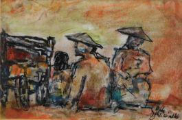 """Otto Schliwinski, *1928, Mischtechnik """"Personen mit Karren"""" sig u. r., 9,5x14,5 cm, o.R."""